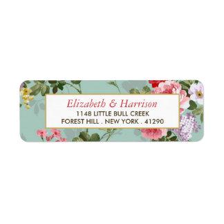 Vintage Floral Garden Botanical Wedding Return Address Label