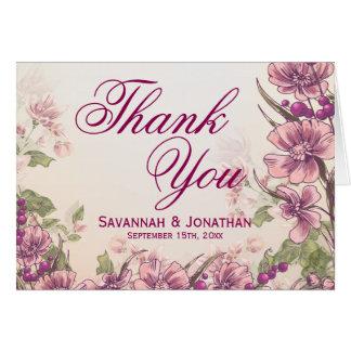 Vintage Floral Garden Wedding Thank You Cards