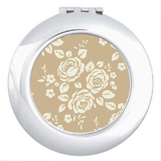 Vintage_Floral_Gift_Round* Shape_Dark_Cream Mirror For Makeup