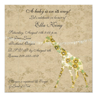 Vintage Floral Giraffe Silhouettes Baby Invitation