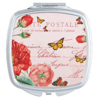 Vintage floral girly compact mirror w/ flowers