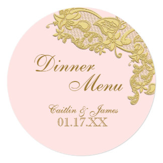 Vintage Floral Gold and Blush  Round Menu Card