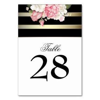 Vintage Floral Gold Black White Stripes Wedding Card
