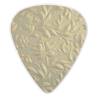 vintage,floral,gold,elegant,chic,beautiful,antique white delrin guitar pick