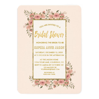Vintage Floral Gold Foil Frame Bridal Shower Card