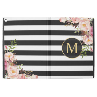 "Vintage Floral Gold Girly Black White Stripes iPad Pro 12.9"" Case"