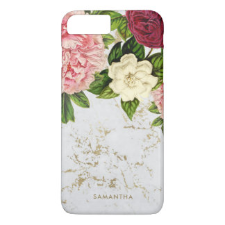 Vintage Floral Gold Marble Custom iPhone 8 Plus/7 Plus Case