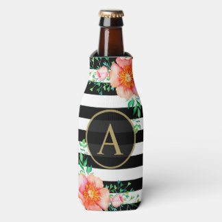 Vintage Floral Gold Monogram Black White Striped Bottle Cooler