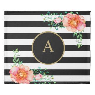 Vintage Floral Gold Monogram Black White Striped Duvet Cover