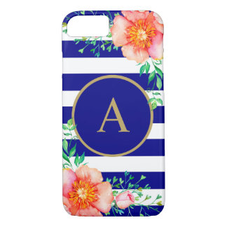 Vintage Floral Gold Monogram Navy White Striped Case-Mate iPhone Case