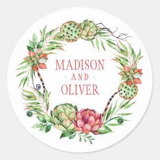 Vintage Floral Green & Pink Succulent | Wedding Round Sticker