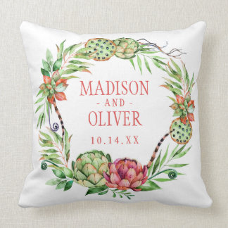 Vintage Floral Green & Pink Succulent | Wedding Throw Pillow