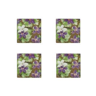 Vintage Floral Green Purple Violets Stone Magnet
