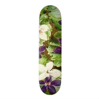 Vintage Floral Green Purple Violets Skate Deck