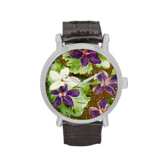 Vintage Floral Green Purple Violets Wrist Watch