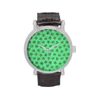 Vintage Floral Green Violets Watch