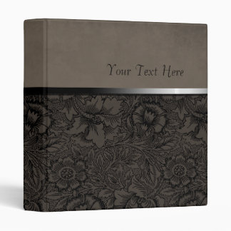 Vintage Floral Grey Suede Vinyl Binder