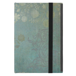 Vintage Floral Grunge Background Pattern in Blue Cover For iPad Mini