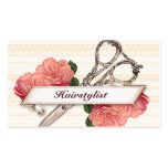 vintage floral hairstylist hair stylist pink girly business card templates