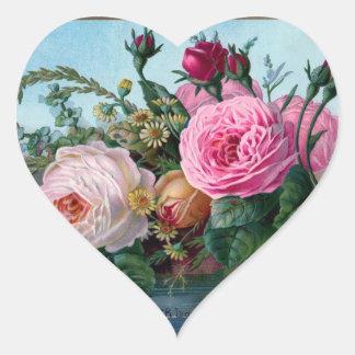 Vintage Floral Heart Heart Sticker