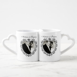 Vintage Floral Heart Personalized Wedding Photo Couples' Coffee Mug Set