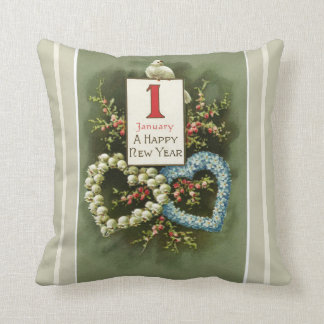 Vintage Floral Hearts and Dove Happy New Year Throw Pillow