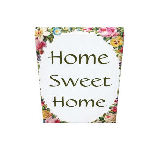 Vintage Floral Home Sweet Home Small Canvas Print