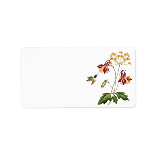 Vintage Floral Hummingbird Botanical Garden Label