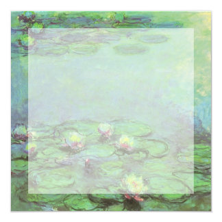 "Vintage Floral Impressionism, Waterlilies by Monet 5.25"" Square Invitation Card"