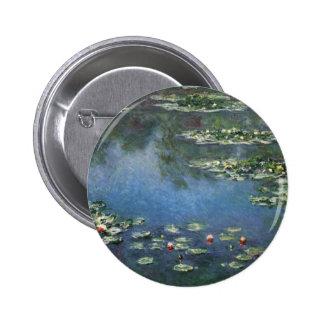 Vintage Floral Impressionism, Waterlilies by Monet 2 Inch Round Button