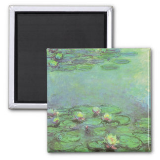 Vintage Floral Impressionism, Waterlilies by Monet Square Magnet