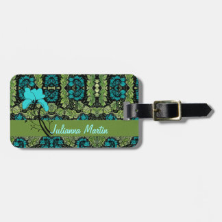 Vintage Floral in Aqua and Green Luggage Tag