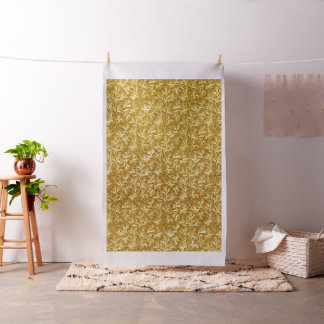 Vintage Floral Lace Leaf Yellow Fabric