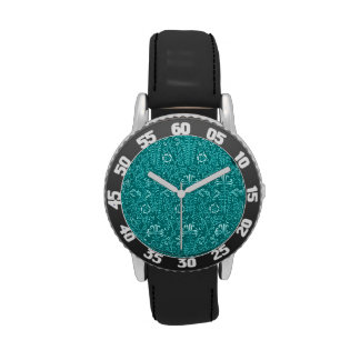 Vintage Floral Lapis Turquoise Teal Watch