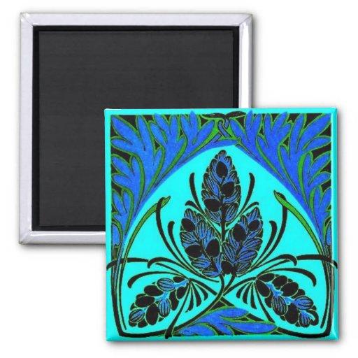 Vintage Floral Leaf Blue Green Fridge Magnet