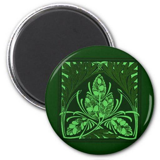 Vintage Floral Leaf Green Refrigerator Magnets
