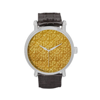 Vintage Floral Leaf Mustard Yellow Flowers Wrist Watch