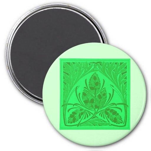 Vintage Floral Leaf Neon Green Refrigerator Magnets