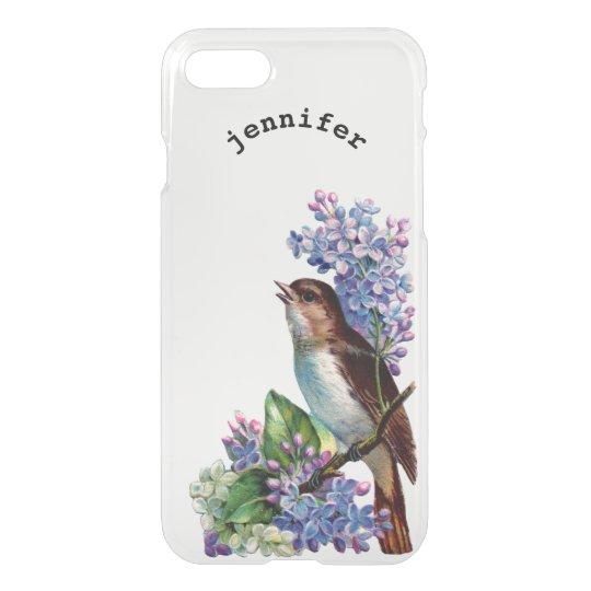 Vintage Floral Lilacs Flowers Bird Personalized iPhone 8/7 Case