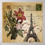 vintage floral lily paris eiffel tower poster