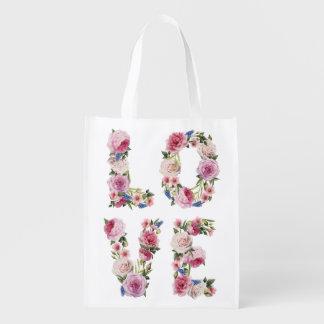 Vintage Floral Love Quote Watercolor Bag