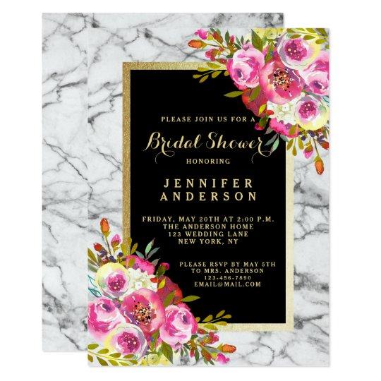 Vintage Floral Marble Wedding Bridal Shower Invite