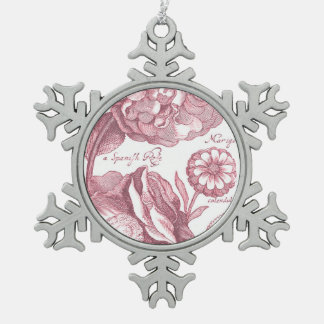 Vintage Floral Marigolds Snowflake Pewter Christmas Ornament