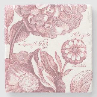Vintage Floral Marigolds Stone Coaster