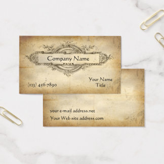 Vintage Floral Medallion Aged Paper Business Card