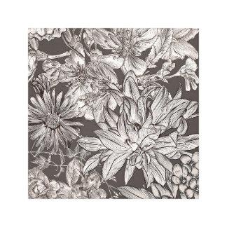 Vintage Floral Modern Ivory Grey Botanical Rustic Canvas Print