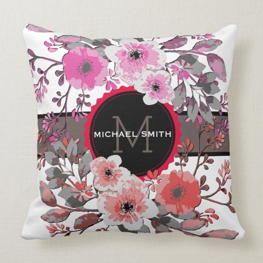 Vintage Floral Modern Monogram #10 Throw Pillow