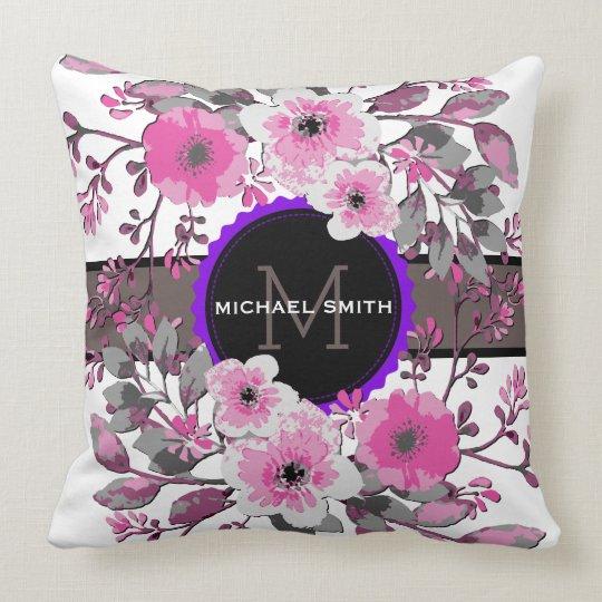 Vintage Floral Modern Monogram #11 Throw Pillow
