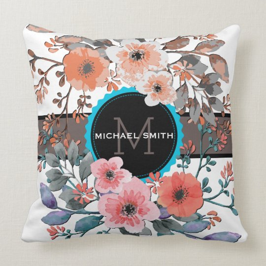 Vintage Floral Modern Monogram #2 Throw Pillow