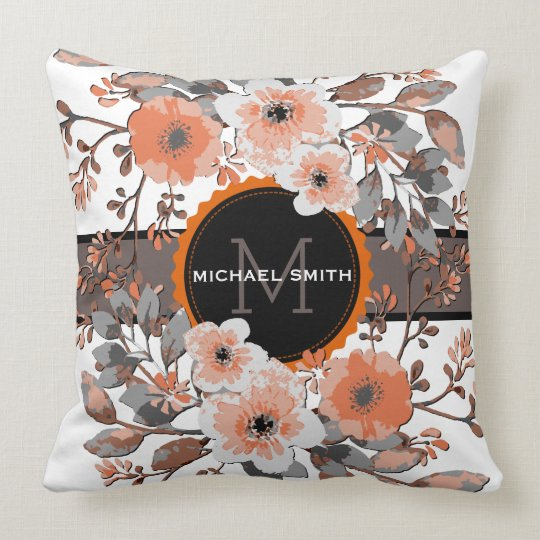 Vintage Floral Modern Monogram #3 Throw Pillow